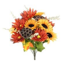 14 Stems Artificial Sunflower, Gerbera Daisy and Lotus Root Mixed Flowers Bush for Home Office, Wedding, Restaurant Decoration Arrangement