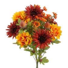 14 Stems Artificial Gerbera Daisy, Marigold and Acorn Mixed Flowers Bush for Home Office, Wedding, Restaurant Decoration Arrangement