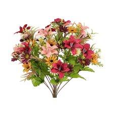 18 Stems Artificial Alstromeria and Daisy Mixed Flowers Bush for Home Office, Wedding, Restaurant Decoration Arrangement