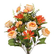 24 Stems Artificial Large Daisy and Rose Mixed Flowers Bush for Home Office, Wedding, Restaurant Decoration Arrangement