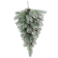 Christmas Pine Teardrop Swag with Frosted Snow