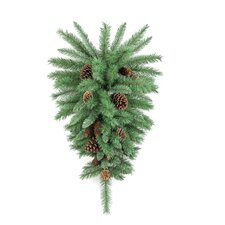 Christmas Pine Teardrop Swag with Natural Pine Cone