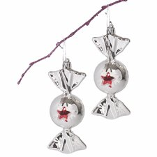 "5"" Shatterproof Handpainted Star on Shiny Candy Christmas Ornaments (Set of 2)"