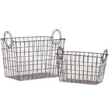 2 Piece Rectangular Wire Meshed Basket Set