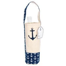 Pelican Bay Cotton Canvas Embroidered Wine Bag