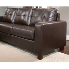 Augusta Leather Reversible Sectional and Ottoman Set