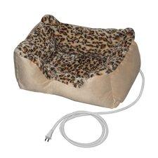 Warm Soft Leopard Print Heated Pet Bed