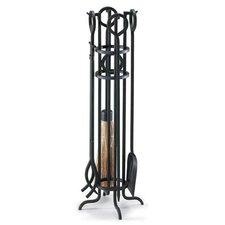 Arts and Crafts 5 Piece Iron Fireplace Tool Set