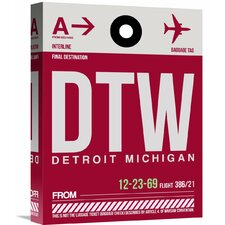 'DTW Detroit Luggage Tag 1' Graphic Art on Wrapped Canvas