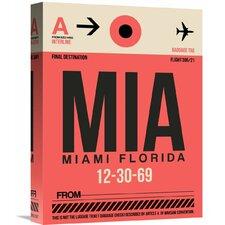 'MIA Miami Luggage Tag 1' Graphic Art on Wrapped Canvas