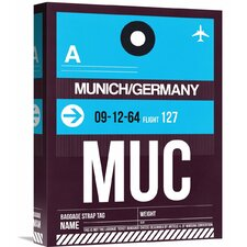 'MUC Munich Luggage Tag 1' Graphic Art on Wrapped Canvas