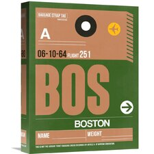 'BOS Boston Luggage Tag 1' Graphic Art on Wrapped Canvas