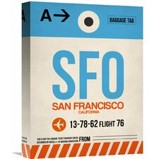'SFO San Francisco Luggage Tag 1' Graphic Art on Wrapped Canvas