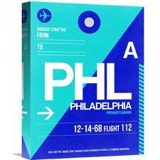 'PHL Philadelphia Luggage Tag 1' Graphic Art on Wrapped Canvas