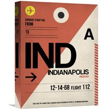 'IND Indianapolis Luggage Tag 1' Graphic Art on Wrapped Canvas