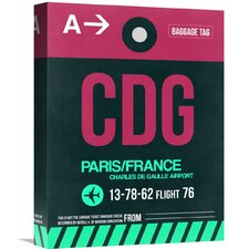 'CDG Paris Luggage Tag 1' Graphic Art on Wrapped Canvas