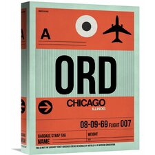 'ORD Chicago Luggage Tag 2' Graphic Art on Wrapped Canvas