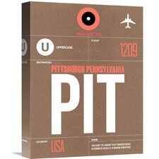 'PIT Pittsburgh Luggage Tag 2' Graphic Art on Wrapped Canvas