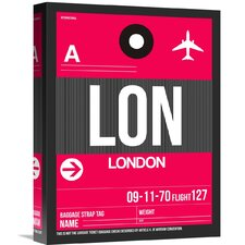'LON London Luggage Tag 2' Graphic Art on Wrapped Canvas