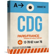 'CDG Paris Luggage Tag 2' Graphic Art on Wrapped Canvas