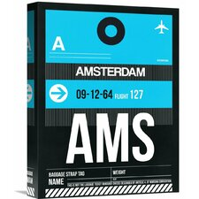 'AMS Amsterdam Luggage Tag 1' Graphic Art on Wrapped Canvas