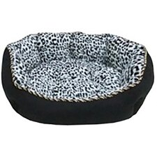 Faux Suede with Black Leopard Animal Print Fleece Dog Bed