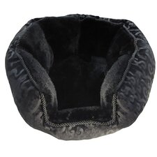 Black Flocked Spandex Cuddler Dog Bed