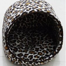 Leopard Open Hooded Dog Bed with Removable Cushion