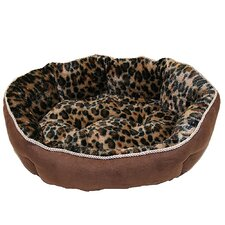 Faux Suede with Brown Leopard Animal Print Fleece Dog Bed
