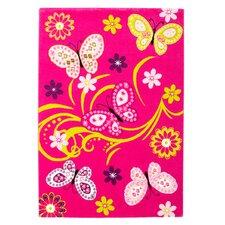 Handgearbeiteter Kinderteppich Lifestyle in Pink