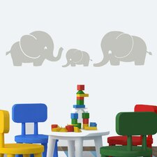 Elephant Family Large Wall Decal