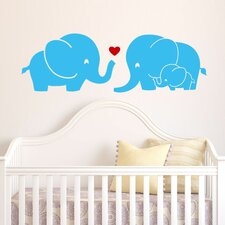 Elephant Family with Red Heart Wall Decal