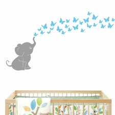 Elephant with Butterflies Wall Decal
