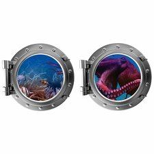 Purple Octopus with Fish in Coral Porthole Fabric Wall Decal