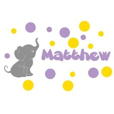 Personalized Elephant with Colored Bubbles Wall Decal