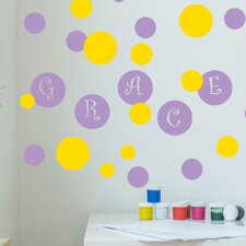 Poka Dot Circles with Personalized Name Wall Decal