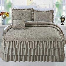 Ruffle Matte Satin 4 Piece Bedspread Set