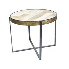 Metal Mixed Wood Top End Table