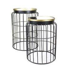 Metal with Mirror Top End Table (Set of 2)