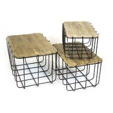 3 Piece Metal Storage Basket Set with Lids