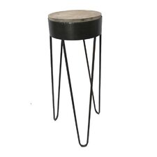 Metal with Wood Top End Table