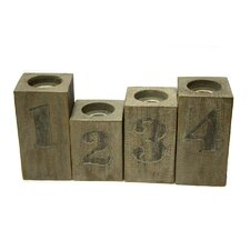 Numbered 4 Piece Wood Candlestick Set