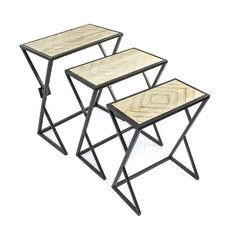 3 Piece Metal & Wood Nesting Tables
