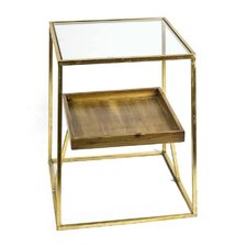 Metal & Glass & Wooden End Table