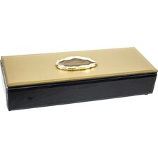 Wood & Glass Jewelry Box with Stone
