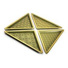 4 Piece Triangle Ceramic Tray Set