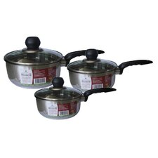 3 Piece Saucepan Set with Lid