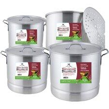 4 Piece Aluminum Steamer Stock Pot Set