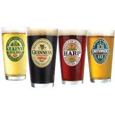 Irish Beer Label 16 Oz. Pub Glass (Set of 4)