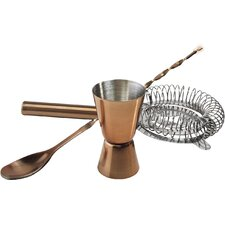 Barcraft 3 Piece Copper Stainless Steel Accessory Set